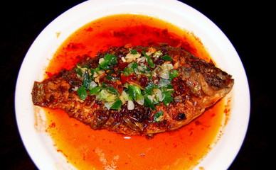 fresh fish in the red hot sauce