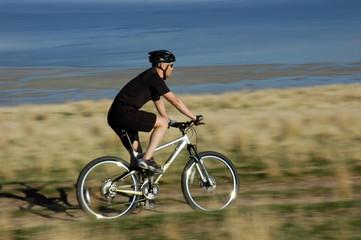 Blur action shot of mountain biker