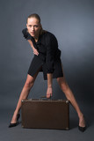 sexy woman with suitcase poster