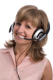 smiling business girl with headset poster