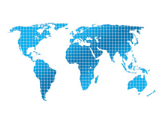 background squares and world map close up