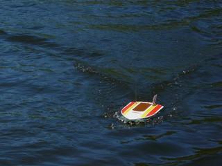 striped motor boat