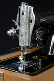 detail of vintage sewing machine poster