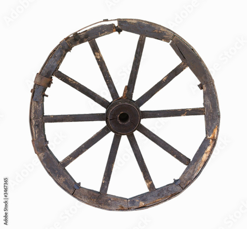 old carriage wheel object over white background