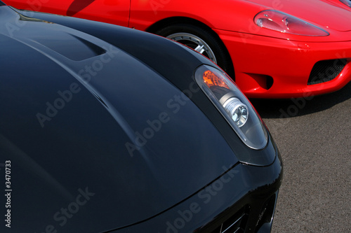 black and red supercar hood