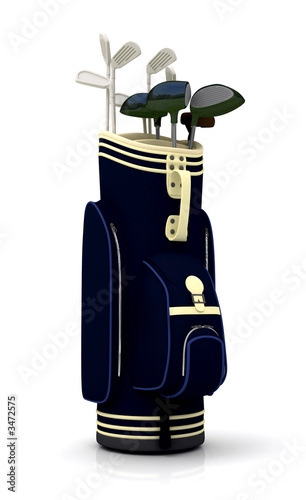 stock photo : golf clubs in a bag - isolated over a white background.