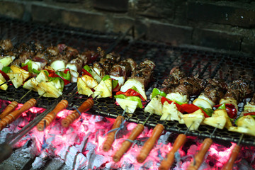 kebabs on a barbacue