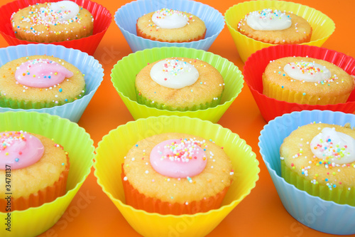 small party cakes with icing sugar
