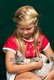 girl and her kitty poster