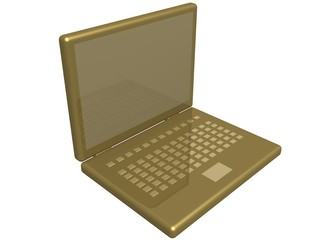 the isolated 3d image of a laptop.