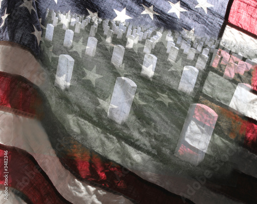 american flag and military cemetery