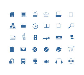 30 blue icon set for design