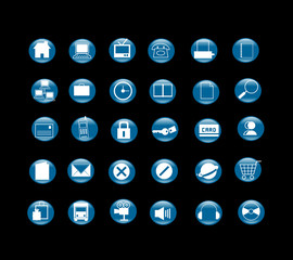 30 blue icon set