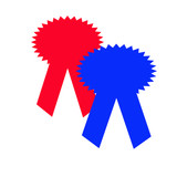 red and blue award ribbons poster