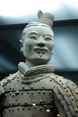 the face of a terracotta solider in xian china