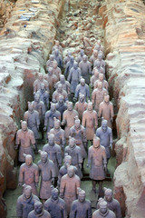 terracotta army in formation in xian, china