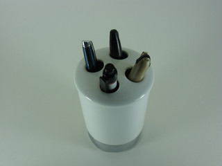 toothbrush holder and pens