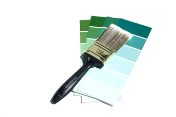 paint swatches and brush