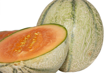 the whole melon and two half