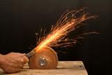 senior craftsman hand grinding poster