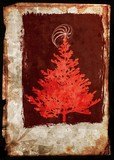 Grunge xmas tree - postcard in red and sepia poster
