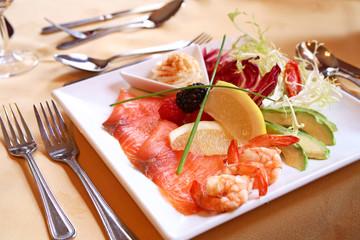 salmon and salad.