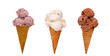 three ice cream cones - 3514347