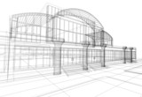 Fototapety wireframe of office building