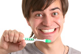 man with tooth-brush poster