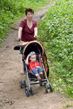 mum and child in a walking carriage poster