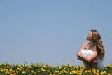 young woman enjoying sunshine poster