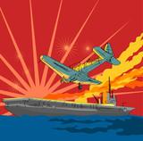 War plane attacking an aircraft carrier poster