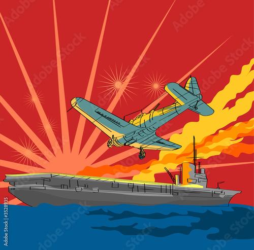 poster of War plane attacking an aircraft carrier