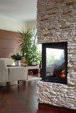 Fototapety fireplace with living room