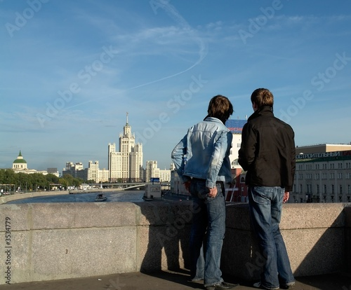 Two boys from the bridge view the Moscow sights