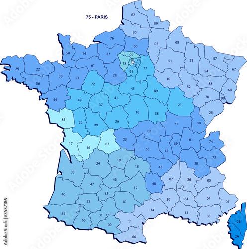 Carte des département de France métropolitaine