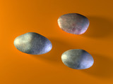 Three oval shaped stones. Digital illustration. poster