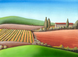 Summer farmland in Tuscany, Italy. Hand painted illustration. poster