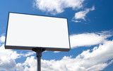 white bill board advertisement under blue  sky with clouds poster