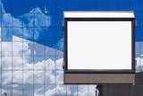 white bill board advertisement in glass brick poster