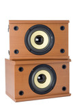 classic sound system ovwer white background poster