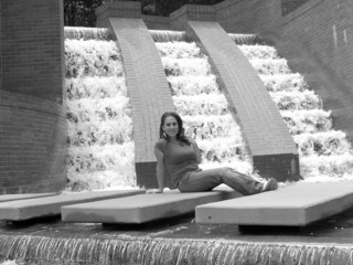 Nicki  and The Waterfall B&W