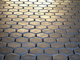 Ancient castle pave made of wooden hexagons poster