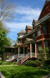 Red brick houses in Oak Park, Chicago, Illinois - 3545121