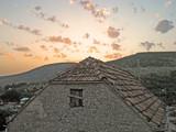 sunset in dalmatian village poster