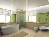 Modern interior. 3D render. Bathroom. Exclusive design.
