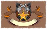 Stallion, colt 45 with horseshoe emblem poster