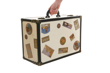 An old retro antique suitcase over white