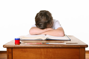A unhappy or frustrated schoolboy or learning difficulties