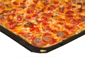 the baking tray with pizza isolated on white background